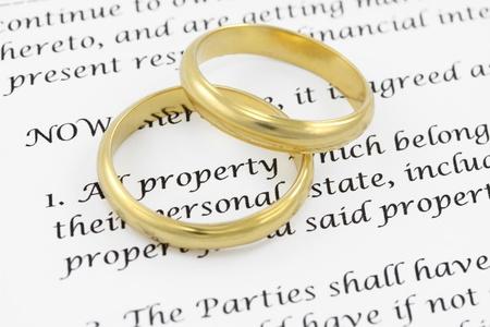 divorcio: DOF acuerdo prenupcial bajo en la palabra propiedad Foto de archivo