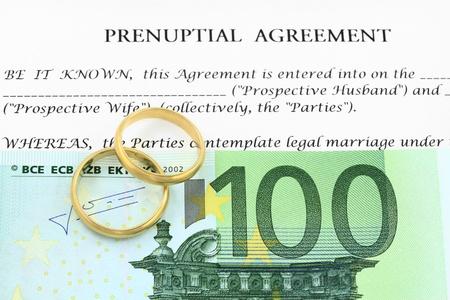 Forme de contrat de mariage avec des anneaux de mariage d'argent euro et