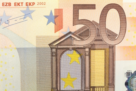 euro banknote: Fifty euro note close up Stock Photo