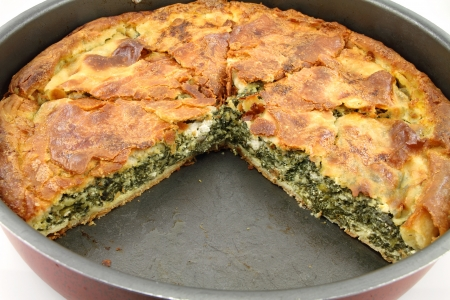 Traditional greek spinach pie   spanakopita   with goat cheese