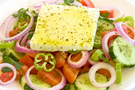 Traditional Greek salad closeup Stock Photo - 17858920