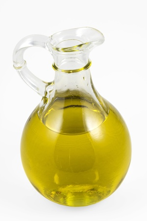 cooking oil: A bottle of virgin olive oil   clipping path included