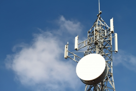 wireless tower: Mobile phone base station Stock Photo