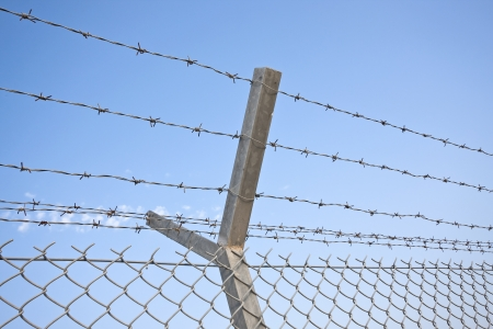 chainlink: Chainlink and barbed wire fence