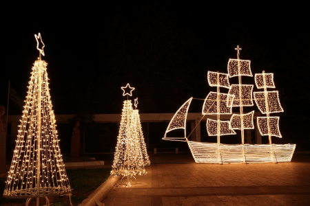 Traditional greek christmas ship Stock Photo