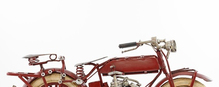 old motorcycle: Handmade tin 1930 s vintage motorcycle model, isolated Stock Photo