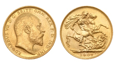British gold sovereign Standard-Bild