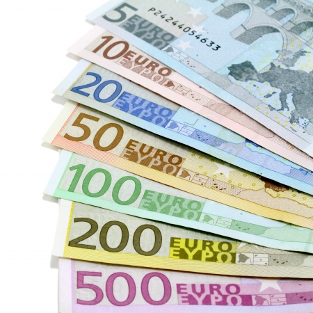 eurozone: Euro banknotes Five to five hundred