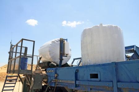 bale: Garbage packing machine in landfill