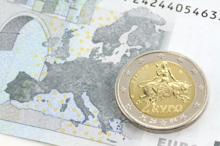 Two euro coin  Europe and the bull Stock Photo
