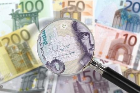 german mark: EU economy under German custody  Financial crisis concept