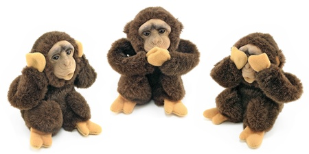 three animals: See no evil, hear no evil, speak no evil     Stock Photo