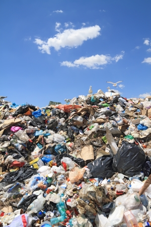 copyrighted: Pile of domestic garbage in landfill. Copyrighted material thoroughly removed Stock Photo