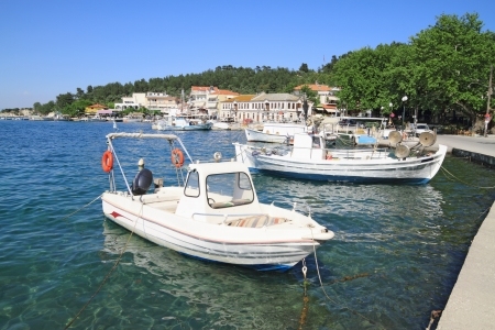 Fishing boats in the old port of Limenas , in Thassos island , Greece