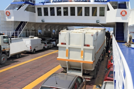 ship deck: ferry boat loaded with cars and trucks Stock Photo