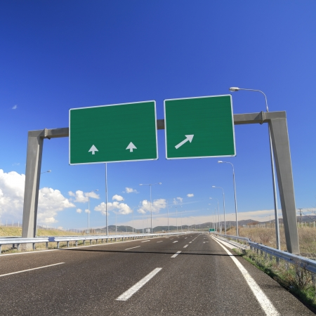 Blank road sign on highway  Add your own text Stok Fotoğraf