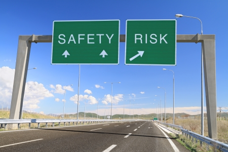 Safety or risk billboard on highway  Make a choice