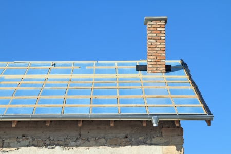 Roof under construction  Thermal insulation Stock Photo