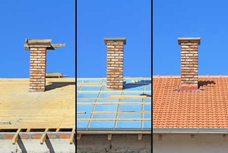 roof shingles: Three phases of a roof construction  Carpentry work, thermal insulation and tiling Stock Photo