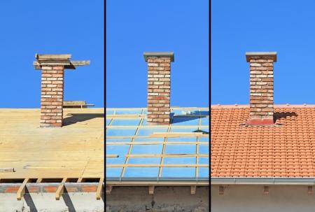 Trois phases d'un travail de construction du toit de menuiserie, d'isolation thermique et de carrelage
