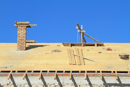 Roof under construction  Carpentry work Stock Photo