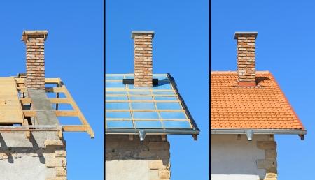 Drei Phasen einer Dachkonstruktion Zimmerarbeiten, Wärmedämmung und Fliesen Standard-Bild - 24525543