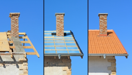 Three phases of a roof construction  Carpentry work, thermal insulation and tiling Stock Photo