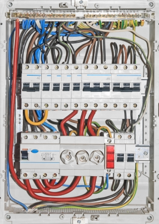 distribution board: Domestic electrical distribution board, mounted on wall