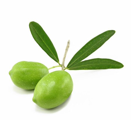Fresh green olives isolated on white background photo