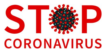 Isolated flat vector illustration of warning symbol, alert to stay home and prevent the pandemic of coronavirus. Red stop coronavirus label with covid 19.