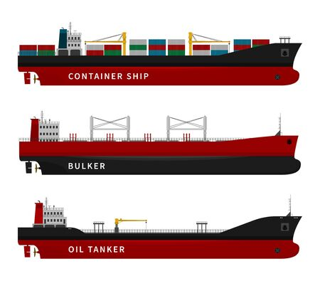 Black red oil tanker, container ship, bulker isolated. Vector illustration set, nautical vessel floating in the ocean. Dry cargo with goods, fuel, gasoline, petroleum, import export transport industry