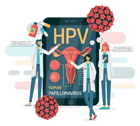 Doctors talk about the human papillomavirus on a smartphone, point to the female reproductive system, there are medicines and the virus around. Vector illustration