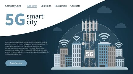 Landing page 5G innovative smart city. Web design banner concept of fifth generation base station mast, illustration of cellular equipment and mobile data towers, telecommunication antennas and signal