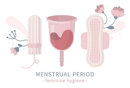 Isolated set of feminine hygiene products with flowers, menstrual cup, sanitary napkin pad, panty liner, tampon, vector illustration of women cervix protection, critical days period. White background. Иллюстрация