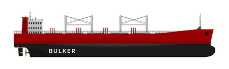 Flat vector illustration of nautical vessel floating in the ocean. Black red bulker ship isolated on white background. Dry cargo with goods, import export transport industry. Cheap delivery option.