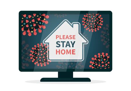 It is safer to comply with quarantine. Stay home hashtag because of covid-19 infection. Flat vector illustration a tv that displays a house that is surrounded with coronavirus with red spikes.