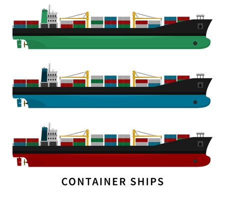 Black green blue red container ship isolated with cranes and goods on white background. Cargo import export transport industry. Flat vector illustration of nautical vessel floating in the ocean.