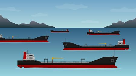 Ships with fuel, transport industry. Nautical vessel float off the coast of California, low demand for crude, global lockdown, crisis. Vector illustration of oil tankers floating in the coastline