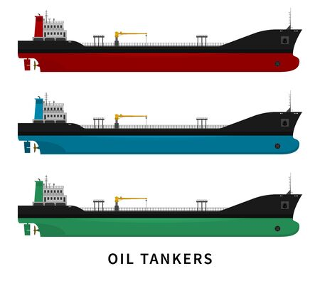 Flat vector illustration set isolated of cargo ship with fuel and petroleum transport import export industry. Nautical vessel in the ocean. Black red green blue oil tanker isolated on white background Vettoriali