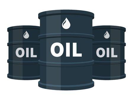 Three black oil barrels isolated, fuel, gasoline, petroleum, flat vector illustration on white background.