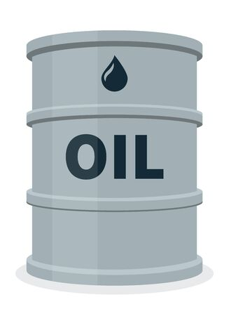 Gray fuel barrel isolated, oil, gasoline, petroleum, flat vector illustration on white background.