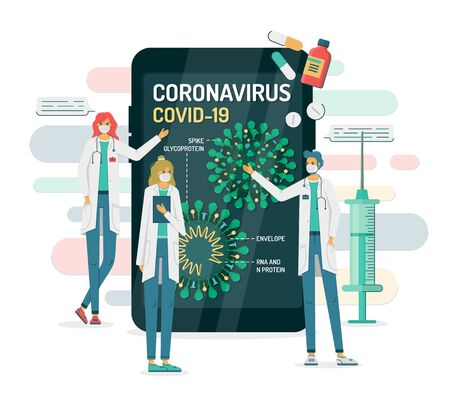 Flat vector illustration of doctors in masks show coronavirus internal structure on a smartphone or tablet. COVID-19 has Spikes, Envelope, RNA and N protein. There are pills, syringe around. Vettoriali