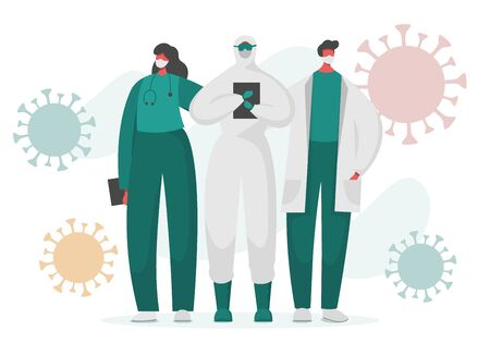Flat vector illustration of brave doctors and nurses in special isolated protected uniform with coronavirus flying around. Frontline of fighting with covid 19 pandemic and other illness.
