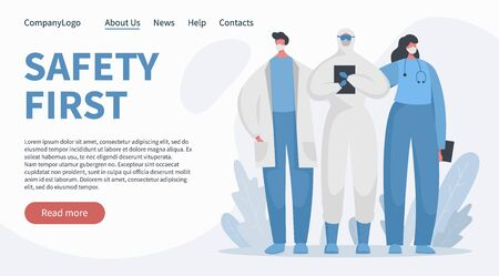 Flat vector banner landing concept with brave doctors and nurses in special isolated protected uniform. Safety first slogan. Frontline of fighting with covid 19 pandemic and illness.  イラスト・ベクター素材