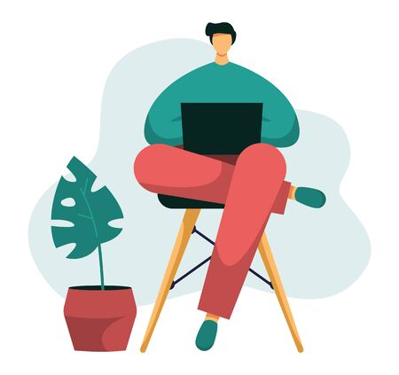 Flat vector illustration of a freelancer typing on his notebook. Young male working from home office with his laptop on his laps, distant employee while quarantine and isolation.