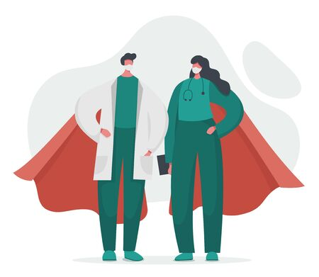 Flat vector illustration of a doctor and a nurse superheroes with capes. Gratitude to heroic hospital teamwork. Frontline of fighting with coronavirus covid 19 and any other illness.
