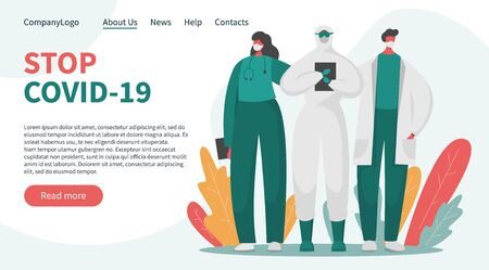 Flat vector landing page banner concept with brave doctors and nurses in special isolated protected uniform asking to stop the pandemic. Frontline of fighting with covid 19 and any other illness.  イラスト・ベクター素材