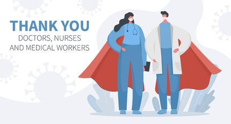 Flat vector illustration landing page banner of brave heroic doctors and nurses with coronavirus flying around. Gratitude to hospital workers who save lives every day. Thank you.  イラスト・ベクター素材