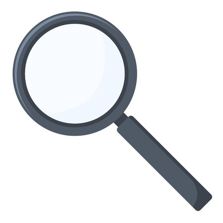 Flat vector illustration of magnifying glass. Reading lens icon isolated, search tool symbol, discovery instrument.