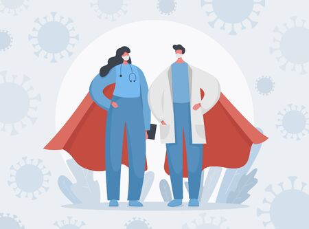 Fighting with covid 19 pandemic and any other illness. Vector illustration landing page banner of heroic doctors, nurses and medical workers with coronavirus. Gratitude, thank you for saving lives